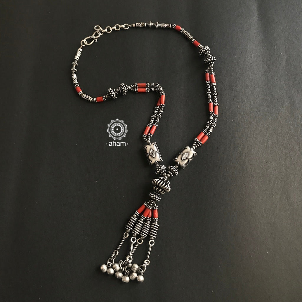 Silver beads with Coral