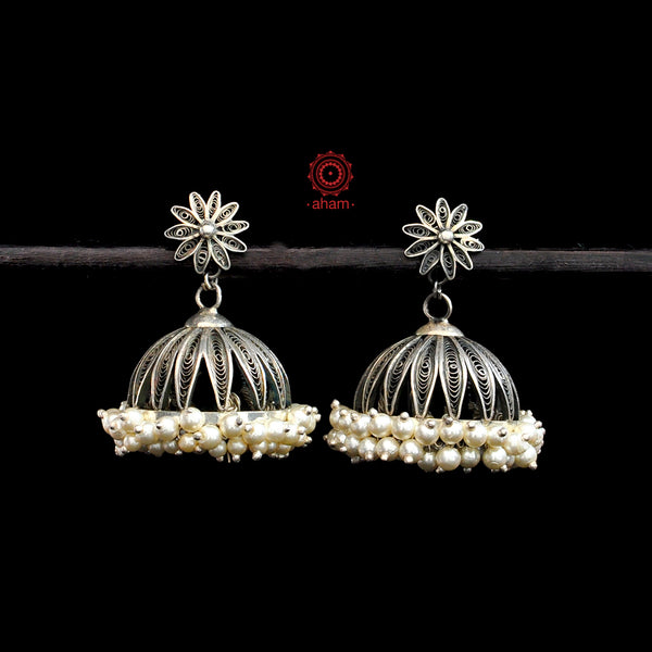 Mewad Silver Jhumkie with pearls