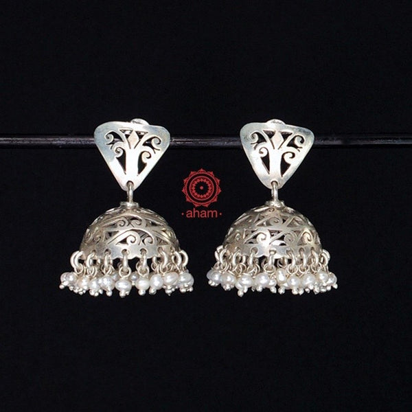 Light weight Jhumkie in 92.5 Sterling Silver laced with pearls