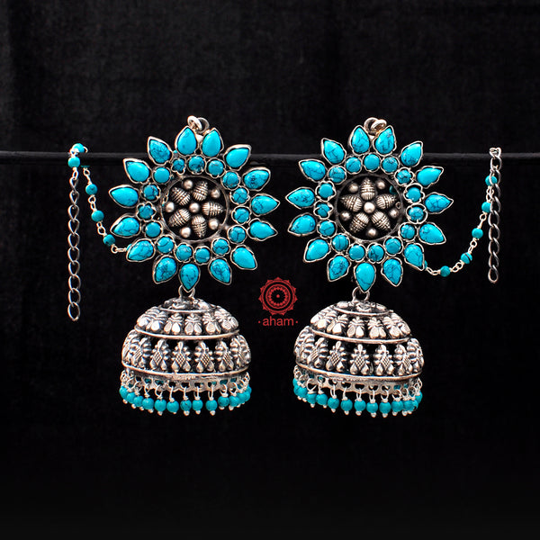 Large Turquoise Silver Jhumkie