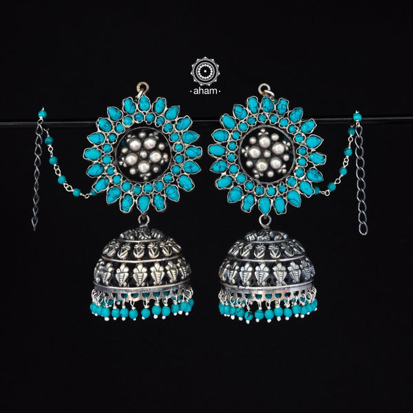Turquoise Love Jhumkie in 92.5 sterling silver  comes with ear chain for ease of wear