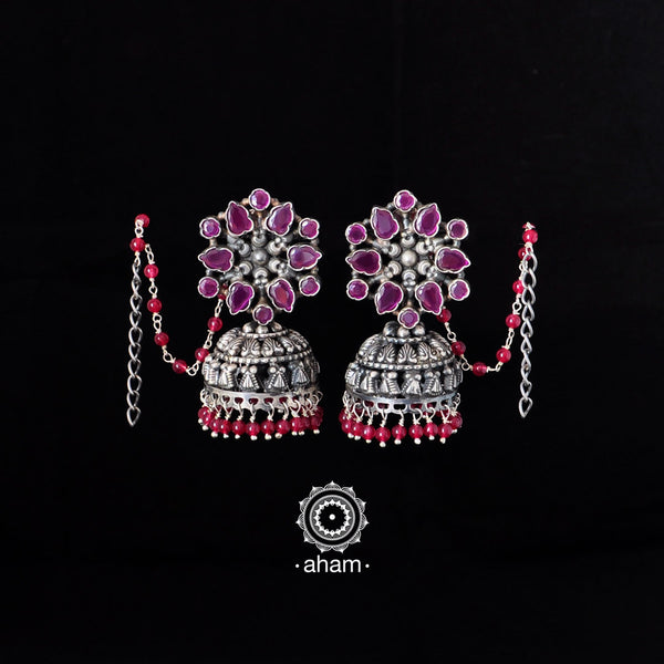 Jhumkie in 92.5 sterling silver  comes with ear chain for ease of wear