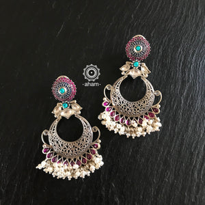 Festive earrings with Semi precious stone setting