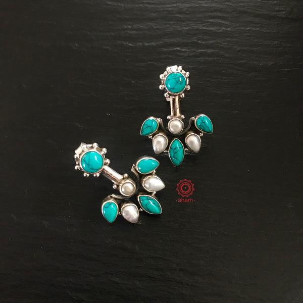 Summer Love Everyday wear Pearl and Turquoise Studs