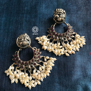 Peacock Earrings with Pearls
