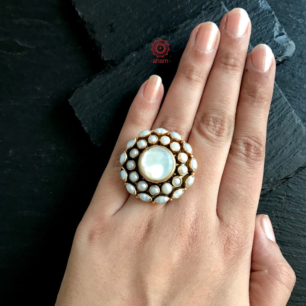 Gold Polish Pearl Ring