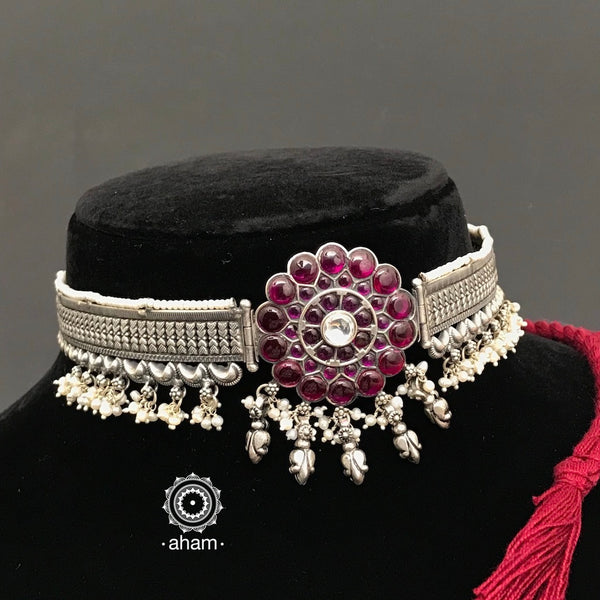 92.5 Sterling Silver flower choker laced with pearls.  beautiful dainty handcrafted choker to complete your festive look