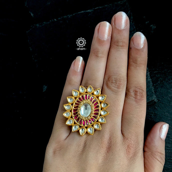 Gold Polish Ring with Kundan
