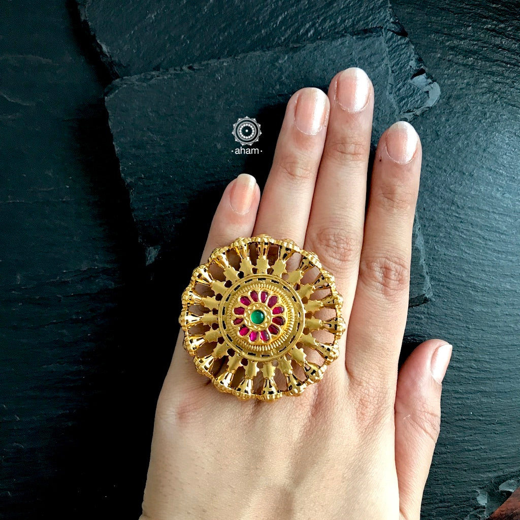 Gold Polish Ring with Kemp work