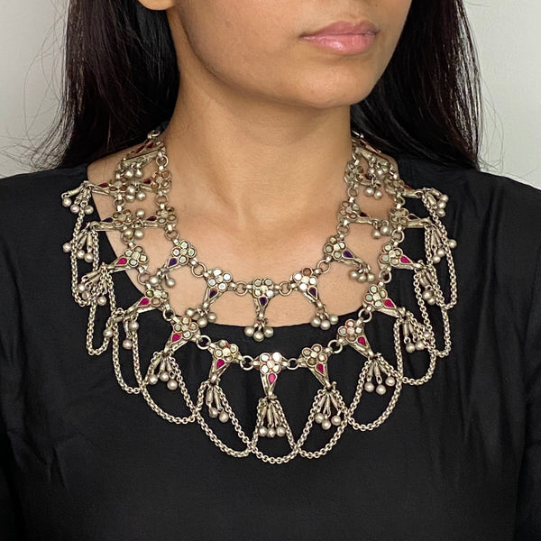 Tribal Silver Glass Neckpiece