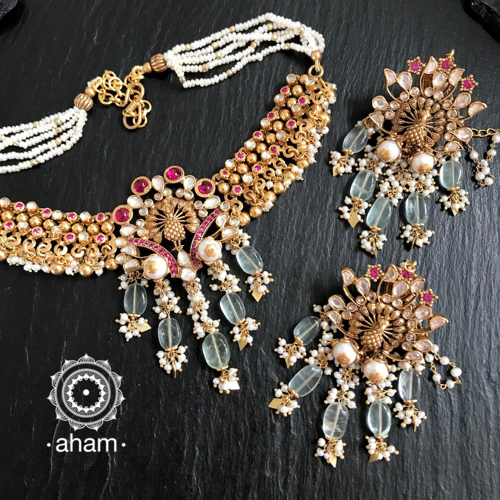 Peacock Gold Polish Kundan Choker and earring set