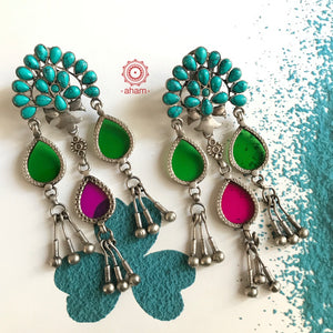 Turquoise Rang Mahal Silver Earring