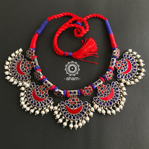 Red and Blue Glass Neckpiece