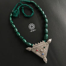 Large Rava Work pendant with malachite stone