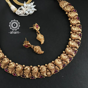 Dull Gold Polish Peacock Neckpiece