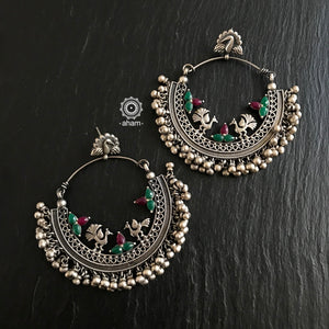 Oversized Statement Peacock Hoops