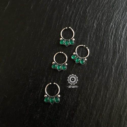 Septum Ring with Green stone