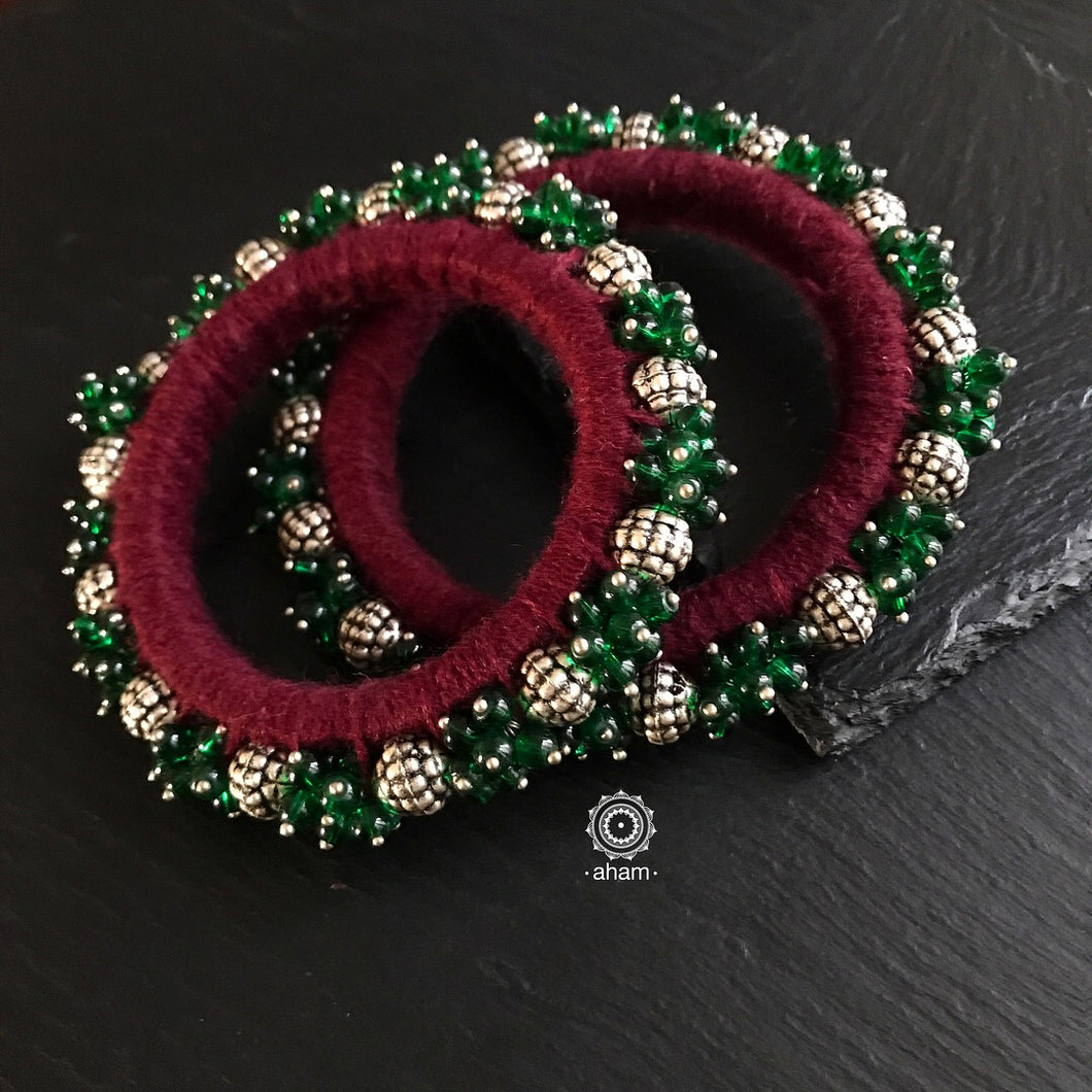 Silver beads, Green stone and thread work Bangle