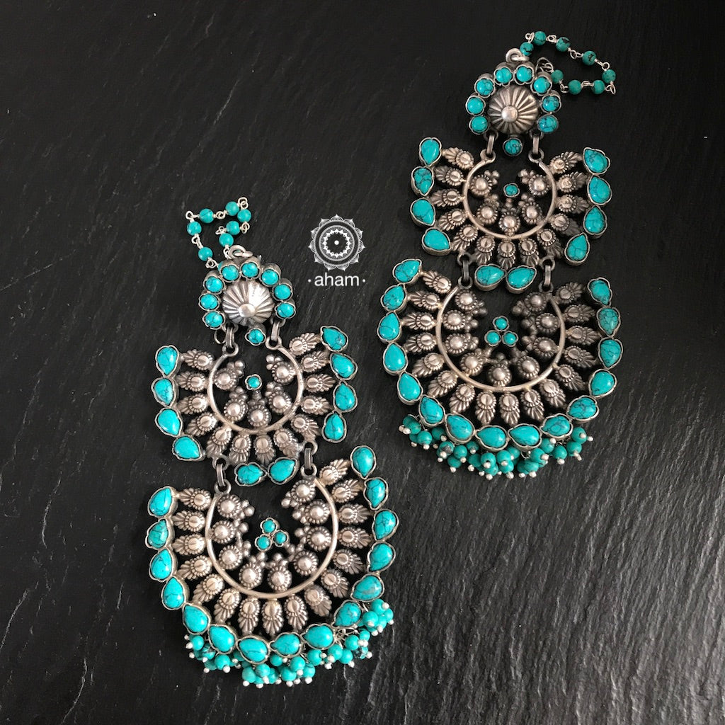 Turquoise Two Layer Silver Chandbali