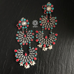 Turquoise and Coral Two layer Chandbali