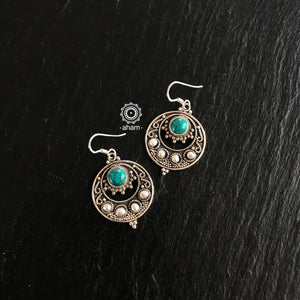 Silver Pearl Turquoise Earring