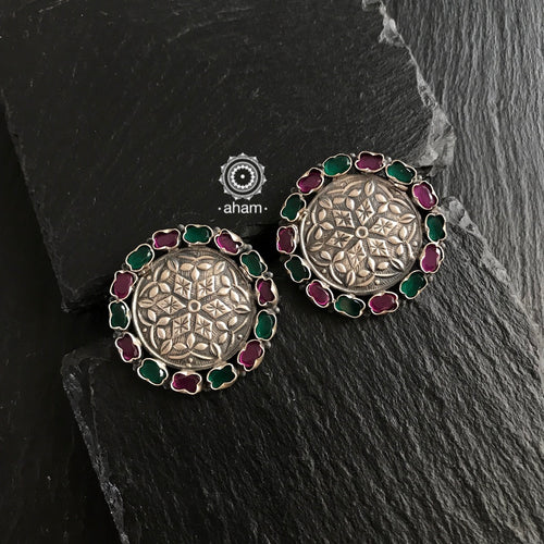 Green and Maroon Stone Studs