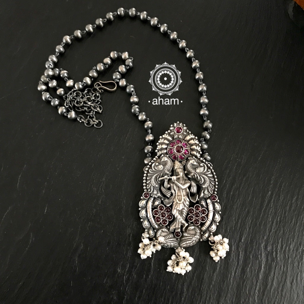 Krishna Neckpiece with Kemp stone and Pearls