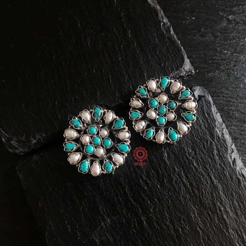 Summer Love Turquoise & Pearl Studs