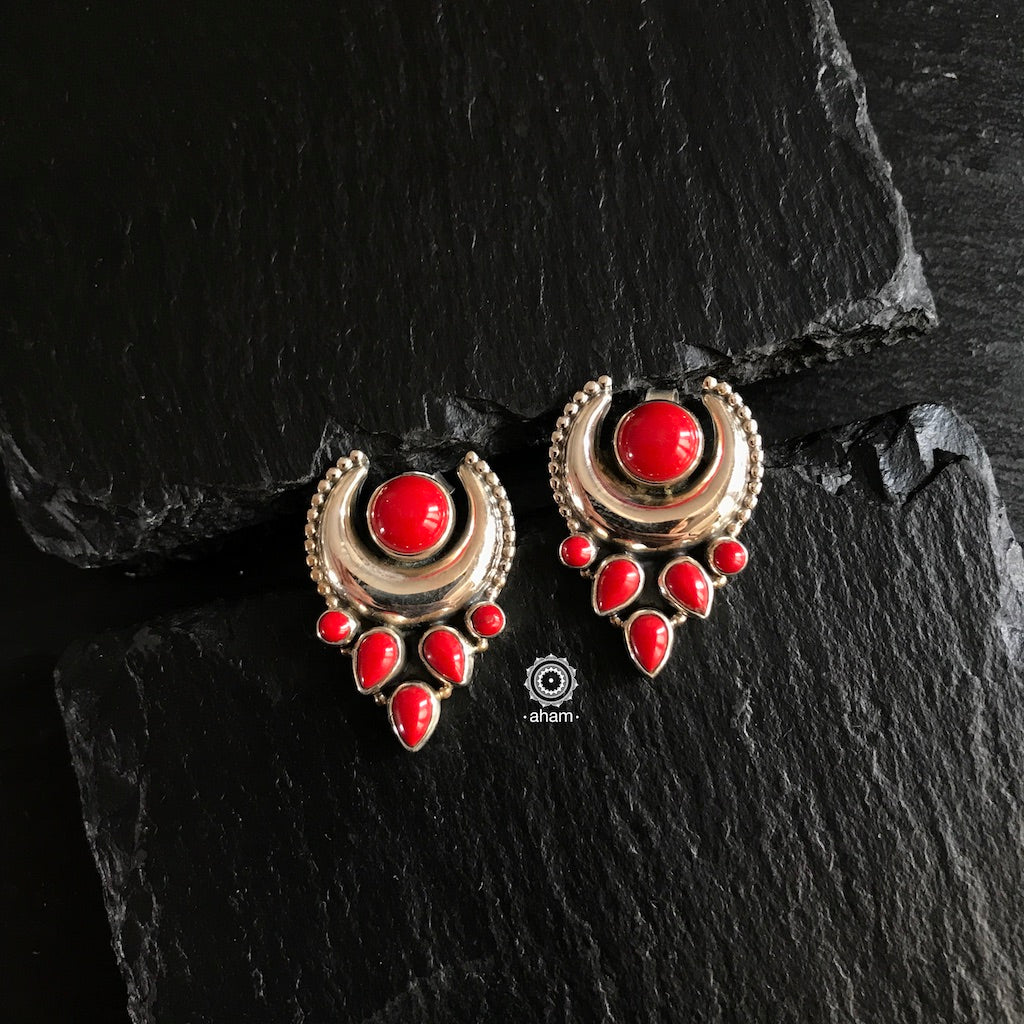 Summer Love Crescent Red Earring