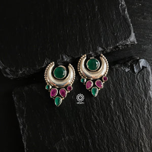 Summer Love Crescent Green & Maroon Earring