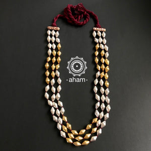 3 Strand Red Thread Two Tone Dholki Neckpiece