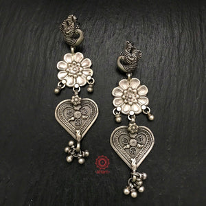 Mewad Three Layer Silver Peacock Earring