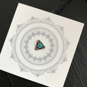 Triangle Turquoise Silver Nosepin