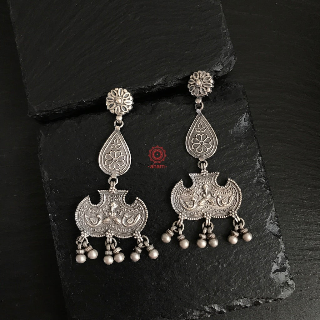 Mewad Silver Tribal Ganesha Earrings