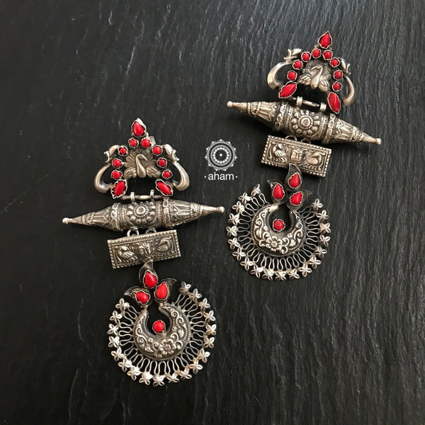 Silver Coral Peacock Earring