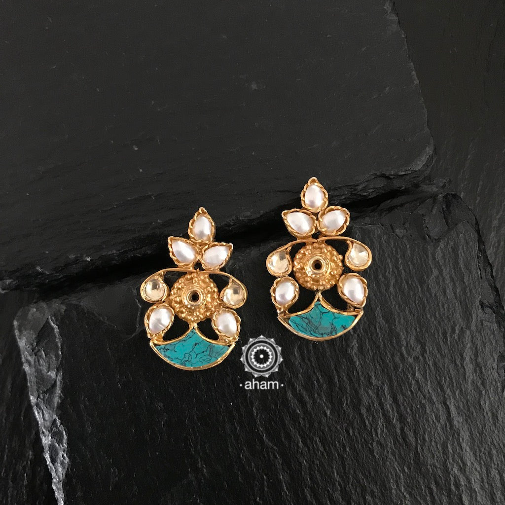 Gold Polish Pearl & Turquoise Earrings