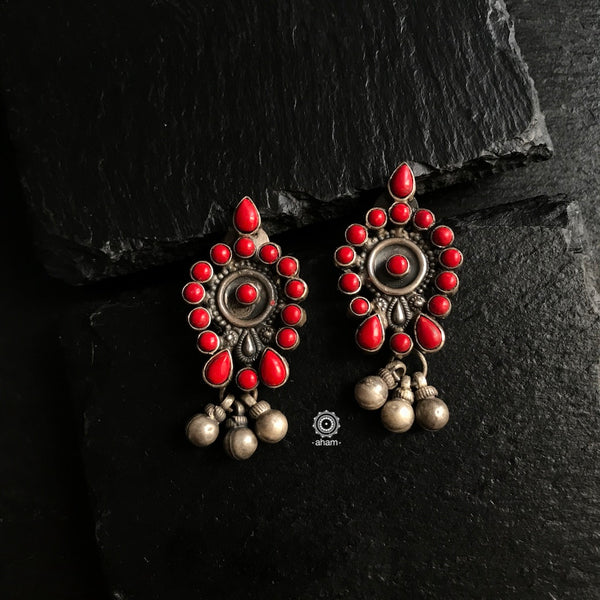 Coral Silver Earrings