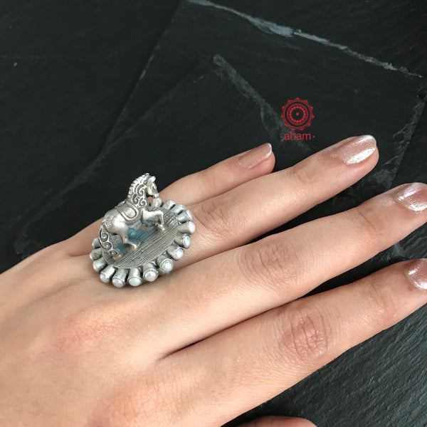 Silver 3 D Horse Ring