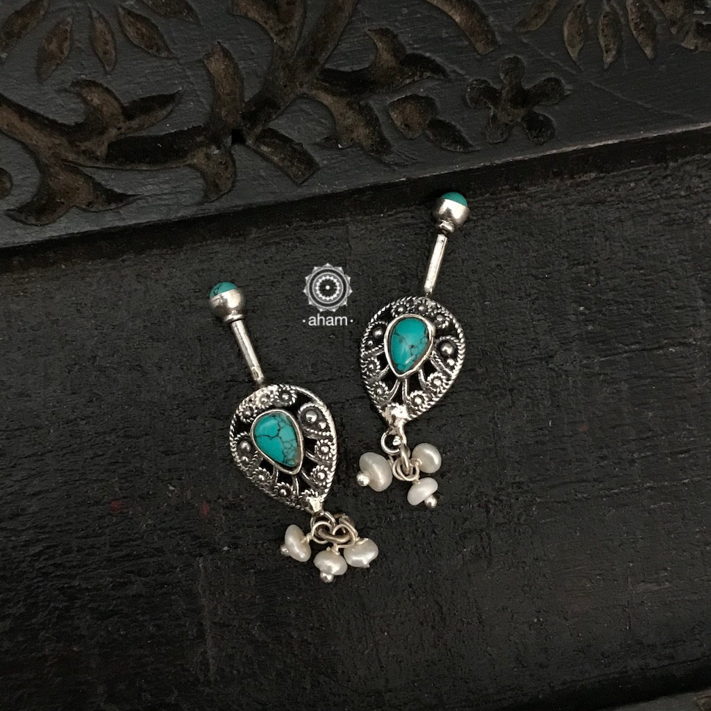 Turquoise Leaf Silver Bugadi with Pearls