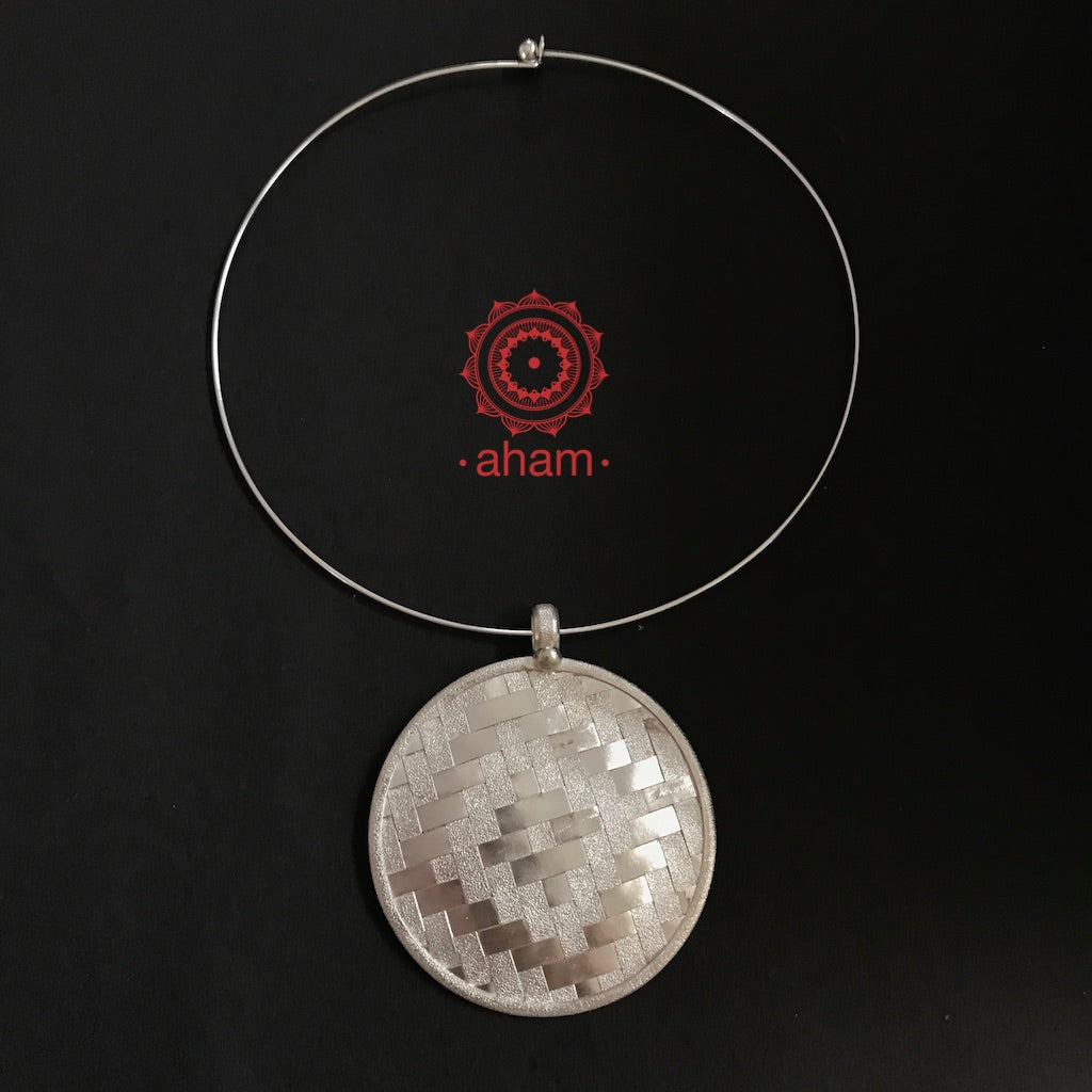 Weave Work Moon Pendant with wire Hasli