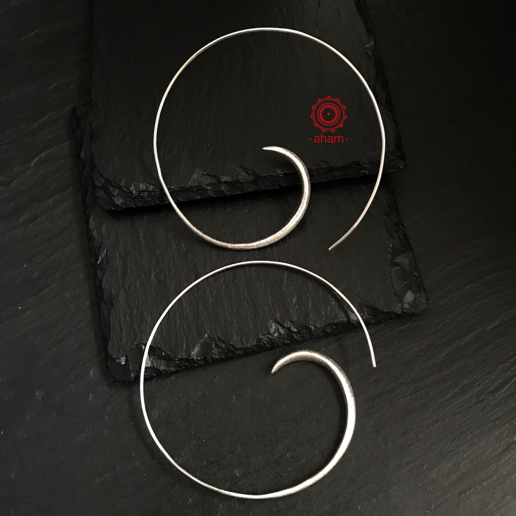 large silver hoops, silver earrings, earrings india, aham jewellery,