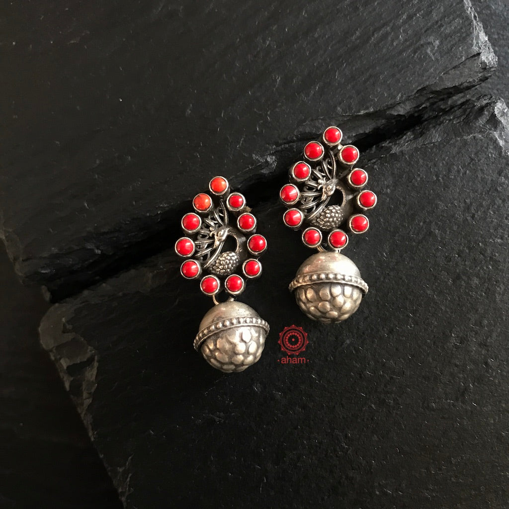 Coral Peacock Earring