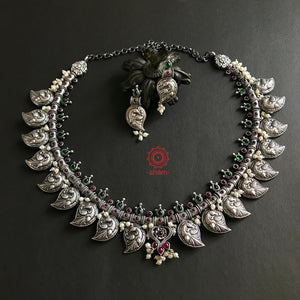 Nrityam Peacock Neckpiece with Earrings