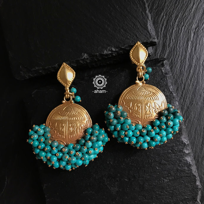 Chandrika Turquoise Gold Polish Earring