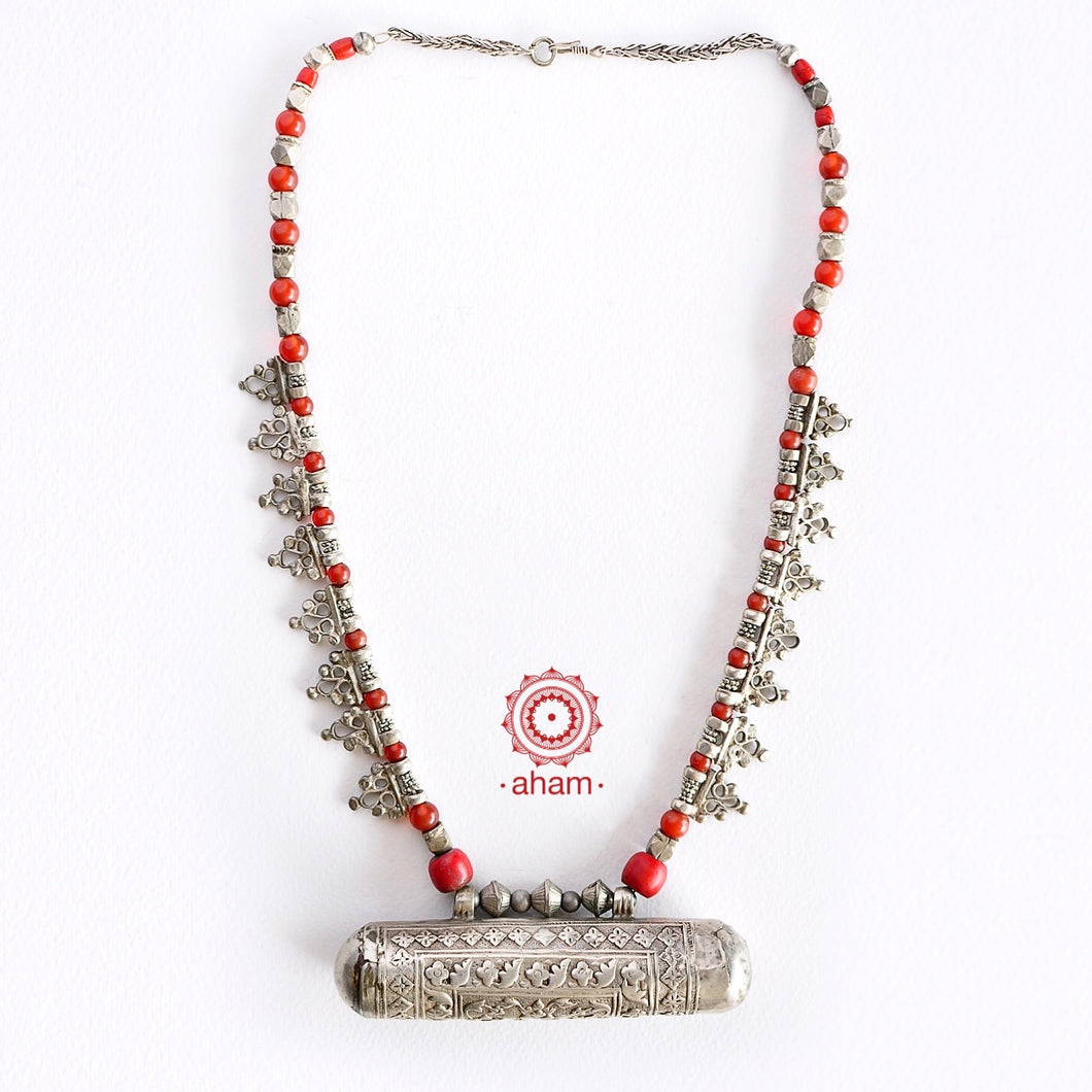 Turkmen Coral and Silver neckpiece