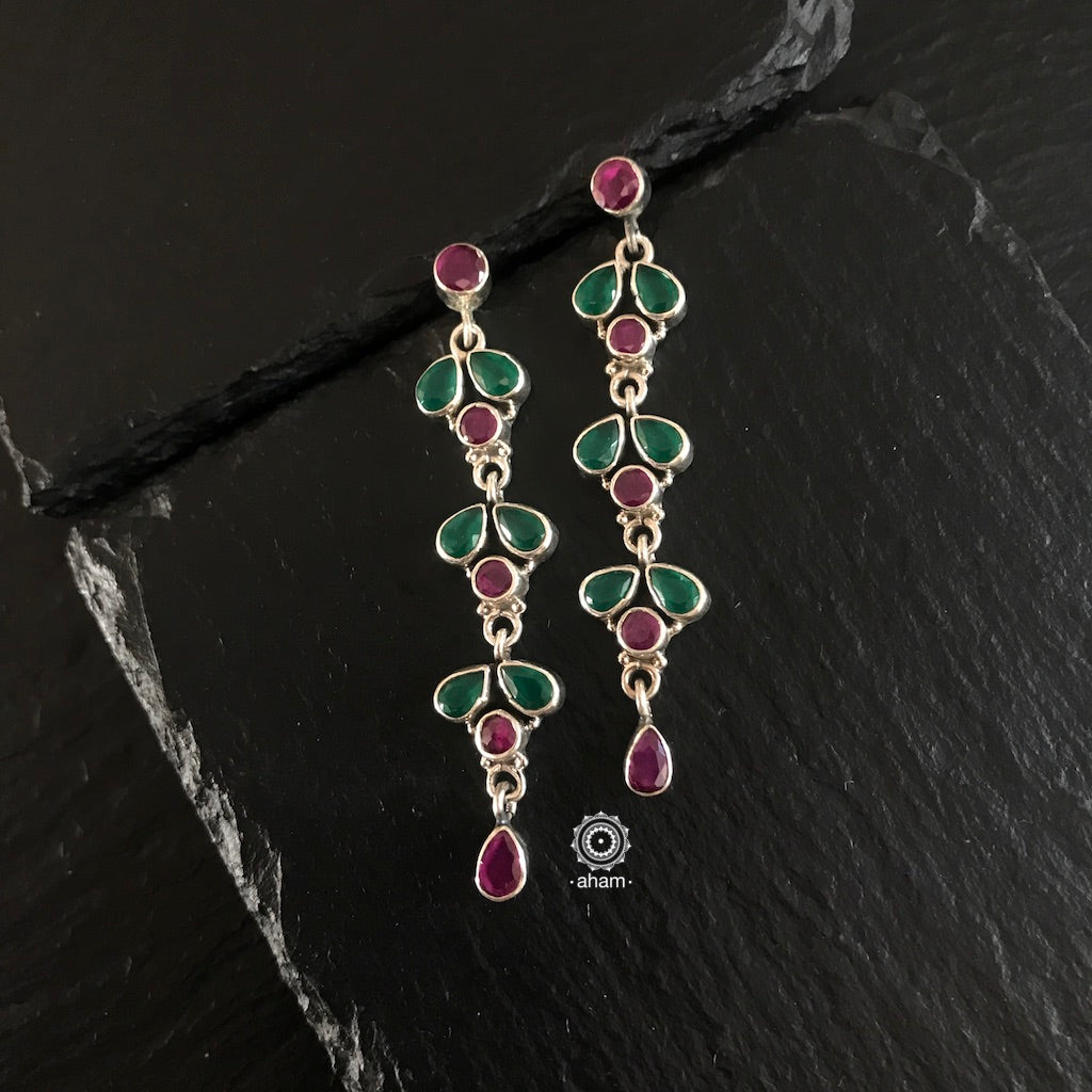 Green and Maroon Earrings