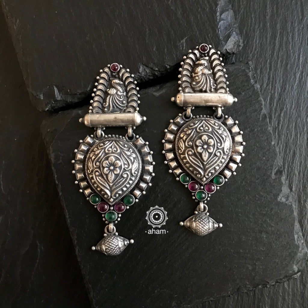 Nrityam Silver Peacock Earrings