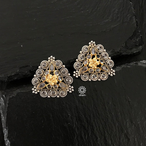 Dual Tone Silver Zircon triangle earrings