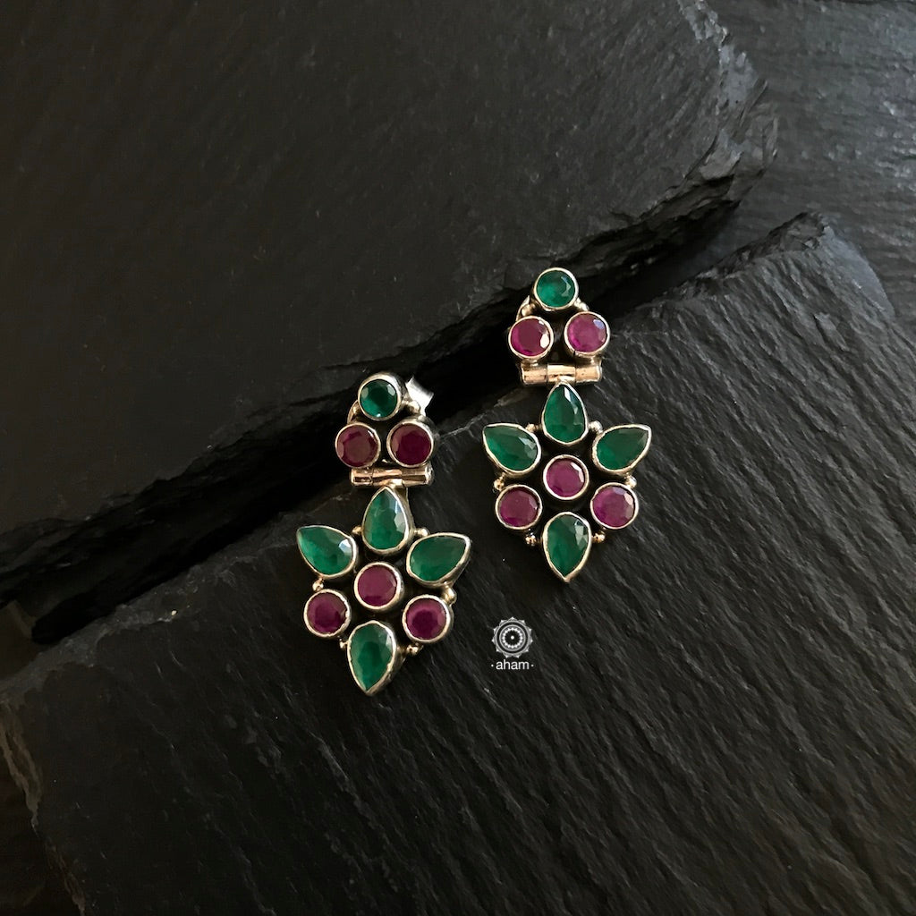 Maroon and Green Stone Earrings