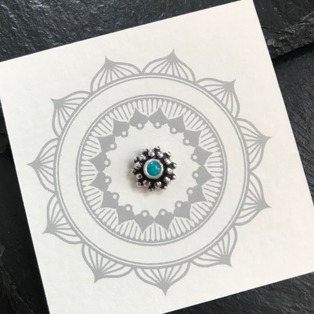Blue Stone Silver Nosepin Aham Jewellery Handcrafted Silver
